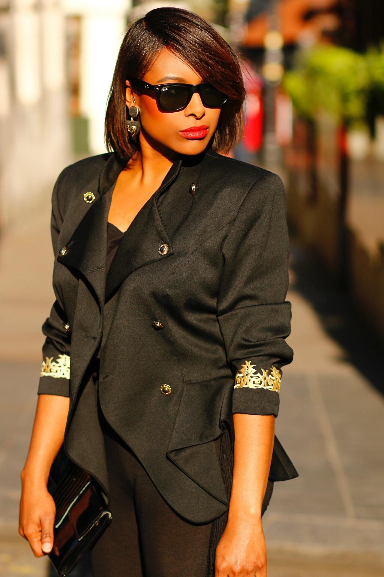 Black Military Peplum Jacket